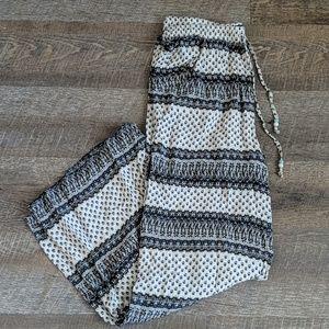 Boho Flowy Pants Pockets Beaded tie